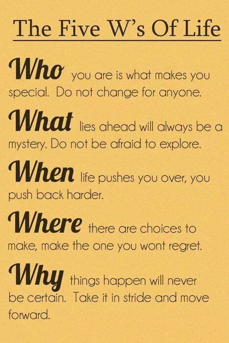 The five W's Of Life…