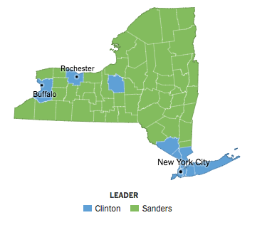 Bernie v. Hilary. NY Primary results. Map credit to NY Times.